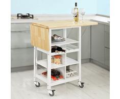 SoBuy® Carrito de cocina, estantería de cocina, carrito de servir con ruedas, FKW44-WN, ES