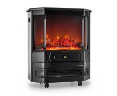 Klarstein Castillo Chimenea eléctrica con simulador de llama (2000W potencia máxima, 2 niveles, simulador independiente del radiador) - negra