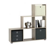 FMD Möbel 248-001 Mega 1 - Estantería separadora de ambientes (104,5 x 108,5 x 33 cm, madera de roble)