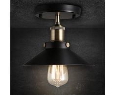 OYGROUP Loft Lámparas de techo de la vendimia E27 Lámpara de sombra de metal negro Personalidad Luces de techo simples para la iluminación del balcón