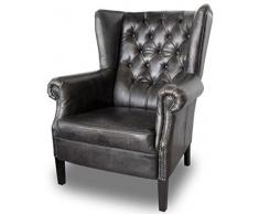 Casa Padrino Chesterfield Butaca de Cuero Buffalo Real Black Solid Wood - Luxury Living Room Furniture - Vintage