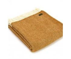 Herringbone Mostaza Amarillo manta de pura lana virgen manta alfombra fabricado en Reino Unido