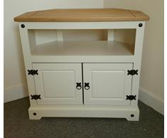 Mercers Furniture Corona - pintado - Mueble de esquina para televisor crema/pino