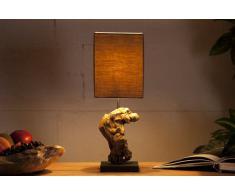 Diseño hecho a mano lámpara de mesa lámpara hipnótico la madera marrón