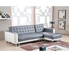 Bestmobilier - New York - Sofá D ángulo Reversible Convertible - 235 x 153 x 77 cm - Blanco/Gris