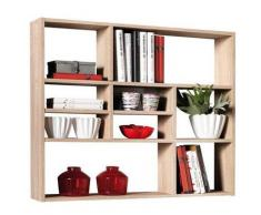 Estantería de pared de estantería de libros de espacio de almacenamiento de estantería Mika de madera de roble con decoración de FMD