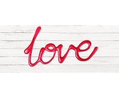 Cabecero Cama PVC Texto Love sobre madera blanca 150x60cm | Disponible en Varias Medidas | Cabecero Ligero, Elegante, Resistente y Económico