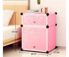 Flashing- Gabinete de cabecera simple Simple y moderno Mini armario de resina creativa Armarios de almacenamiento ensamblado con puertas, mesita de noche para niños ( Tamaño : 39*37*57cm )