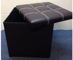 Baúl para taburete TheBigShip de piel sintética tipo puf en forma de caja de almacenamiento - color: marrón.