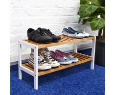 Relaxdays 10017706 - Zapatero con dos niveles, bambú, 70 x 25 x 33 cm, color marrón y blanco