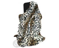 Just Contempo - Manta para sofá y cama, piel de imitación de visón, piel sintética, leopardo, marrón, beige, cama individual