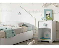 Pitarch Cabezal Cama Shine Color Blanco Estrella Gris cabecero Dormitorio Infantil Juvenil 100x80