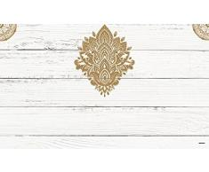 Cabecero Cama PVC Impresión Digital Imitación madera blanca con tribal estilo henna 150 x 60 cm | Disponible en Varias Medidas | Cabecero Ligero, Elegante, Resistente y Económico