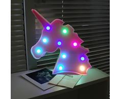 AIZESI Unicornio luz de noche, lámparas LED de unicornio, marquesina, funciona con pilas, luces LED de mesa, decoración de pared para niñas, dormitorio, sala de estar, Navidad, fiesta como regalo para niños