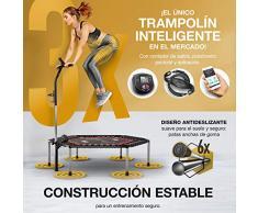 ¡Novedad 2020! Trampolín Smart Fitness, Incl. cinturón de Ritmo cardíaco, vídeo de Entrenamiento, Contador de Saltos y App, Plegable, Manillar Ajustable, portabotellas y Soporte para móvil - HTX100