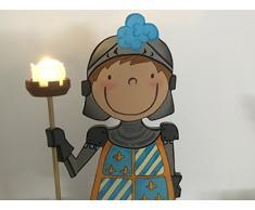 Caballero flor de Lis. Decoración dormitorio infantil. Original luz ambiental hecha a mano en madera. Luz mesita de noche.