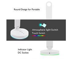 ALOTOA Lámpara de escritorio de LED Control sensible al tacto Moder Design Lámparas de mesa Lámpara plegable portátil Dimmable, 3 niveles regulable, batería de aluminio incorporada, luz colorida del ciclo, lámpara del cuidado