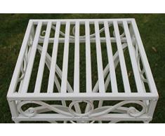 Mesa auxiliar de jardín o soporte para plantas de metal estilo Versalles con un acabado blanco antiguo de Olive Grove