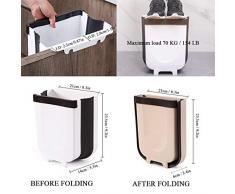 Dreamsbox Gabinete De Cocina Plegable Puerta Colgante Basurero Cubo De Basura 5L Pequeño Contenedor De Basura Compacto Papelera De Plástico para Armario De Cocina (5L, Marrón)