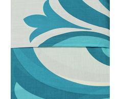 Juego de funda nórdica y funda de almohada, de algodón, diseño moderno y contemporáneo, mezcla de algodón, azul/crema, funda de edredón doble King size