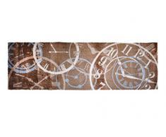 Alfombrilla LifeStyle 100970 Relojes, alfombra antideslizante y lavable, ideal para el armario, la cocina o el dormitorio, 50 x 150 cm, marrón / beis