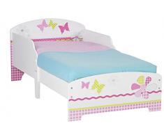 Worlds Apart Cama Infantil con diseño de Mariposas y Flores, Madera, Rosa, 59.00x77.00x145.00 cm