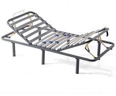 MIVIS - Somier de acero articulado manual multilaminas de abedul, tamaño 135 / 190 cm, color gris