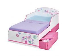 Hello Home 516FLW - Cama infantil con espacio de almacenamiento debajo de la cama con diseño de flores y pájaros , color blanco y rosa
