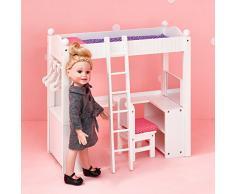 Olivias Little World - Cama litera doble con escritorio, mueble de muñeca 18 (Primary Products TD-0204A)
