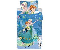 Jerry Fabrics Ropa de Cama para Niños con Cremallera, Diseño Disney Frozen, Algodón, Azul, 200x140x0.5 cm