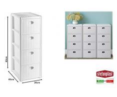 Stefanplast Elegance - Cajonera Slim para Ahorrar Espacio, 4 cajones, Polipropileno, Blanco, 40 x 37 x 80 cm, 30 x 40 x 80 cm