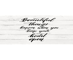 Cabecero Cama PVC Impresión Digital Textura Texto Beautiful Things sobre madera blanca 150x60cm | Disponible en Varias Medidas | Cabecero Ligero, Elegante, Resistente y Económico