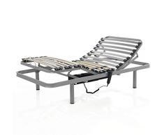MIVIS - Somier electrico articulado de acero multilaminas de abedul, tamaño 150 / 190 cm, color gris
