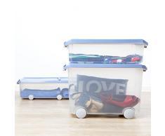 Tatay 1151107 Caja de Almacenamiento Multiusos Bajo Cama con Tapa y Ruedas, 63 l de Capacidad, Plástico Polipropileno Libre de BPA, Azul, 45 x 78 x 18 cm
