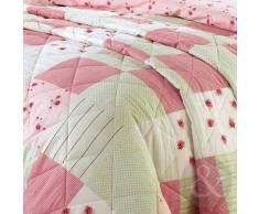 Just Contempo - Colcha (tamaño individual), diseño de retales y flores, multicolor, polialgodón, rosa/verde lima, colcha cama doble King size (210 x 228 cm)