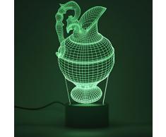 Lámpara Ilusión óptica de 3D Lámpara de noche LED Mesa Lámparas de escritorio del tacto LED de 7 colores Cambio de Cargador USB accionado el interruptor del tacto luz de la noche para los niños regalo de los amigos(Wine Pot 1)