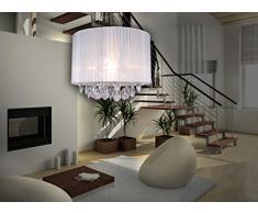 Naeve Leuchten 785323 - Lámpara de techo colgante de tela, diámetro 30 cm, altura 36 cm, luces acrílicas, color blanco