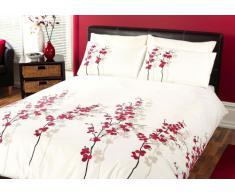 J Rosental & Son ORFRD21PGD - Juego de Funda de edredón y Dos Almohadas, 200 x 200cm, 50 x 75cm, Ajustable para Cama de Matrimonio, Color Rojo y Blanco, diseño de Flores