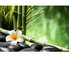 Cabecero Cama PVC Flor y Bambú | Varias Medidas 100x60cm | Fácil colocación | Decoración Habitación | Motivos paisajisticos | Naturaleza | Urbes | Multicolor | Diseño Profesional
