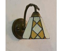 Tiffany Beige Cristal de cuarto de baño lámpara de pared Dormitorio cama páginas una cabeza de espejo frontal de hexahedron metal Lámpara de pared pasillo Cabinet Wash Room apliques