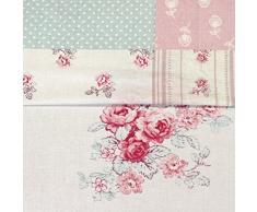 Just Contempo - Colcha reversible de patchwork, diseño floral estilo Shabby Chic, 195 x 229 cm, algodón poliéster, rosa, azul, crema, 195 x 229 cm