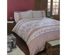 Arte marroquí solo edredón funda de edredón y funda de almohada juego de ropa de cama, polialgodón, rojo