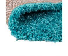 """Alfombra peluda alfombra signicase 5 cm largo - suave y cálido - sala de estar/Dormitorio para colgar, polipropileno, turquesa, 80x150cm (2'6""""x5'0"""")"""