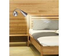 Lámpara LED de cama Lampenlux, cuello flexible, lámpara de lectura, interruptor de níquel aluminio