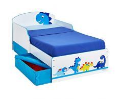 Hello Home 516DIE - Cama infantil con espacio de almacenamiento debajo de la cama con diseño de dinosaurio , color blanco y azul