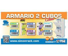 Simonrack 244109203923322 - Armario metálico de 2 cubos (920 x 335 x 250 mm) color blanco/azul