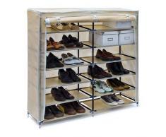 Relaxdays Valentin - Zapatero de ancho, estructura de acero, cubierta de tela, medidas 108,5 x 114 x 30,5 cm, hasta 2 x 7 pisos sin funda, hasta 36 pares de zapatos, color beige