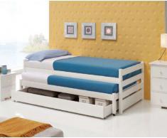 Camas Nido de Madera : Modelo 2 camas simples + 1cajon con ruedas