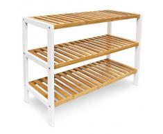 Relaxdays 10017705 - Zapatero con 3 Niveles, bambú, 70 x 55 x 25 cm, Color marrón y Blanco