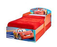Cars 516CAC - Cama infantil con espacio de almacenamiento debajo de la cama, color azul y rojo